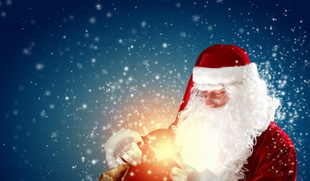 conjure: father Christmas carrying presents in his sack