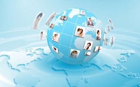 technology collage: Image of our planet as symbol of social networking Stock Photo
