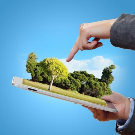 Modern green technology for ecology protection illustration illustration
