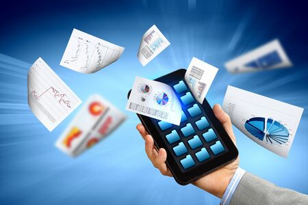 business , e-commerce concept illustration with graphs and charts from computer Stock Illustration - 16648407