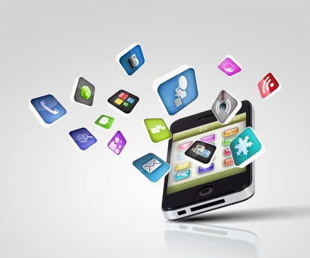 bandwidth: Media technology illustration with mobile phone and icons