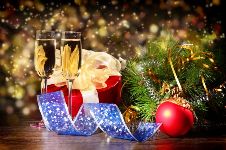 New Year s collage with glasses of champagne  Decorations and ribbons on a bright color background Stock Photo - 16648901