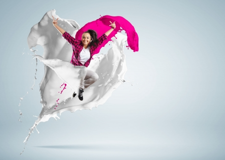 Modern style dancer jumping and paint splashes Illustration Stock Illustration - 16648496