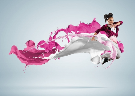 Modern style dancer jumping and paint splashes Illustration Stock Illustration - 16648502
