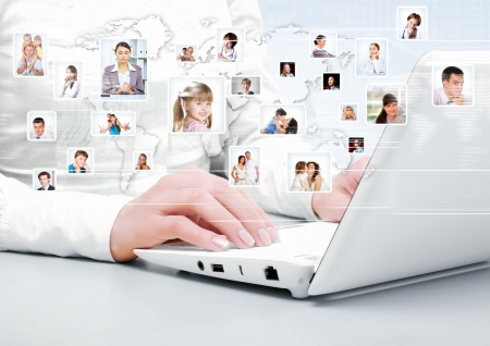social work: Symbol of social network with people images Stock Photo