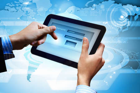 Login with email and password on computer screen Stock Photo - 16697544