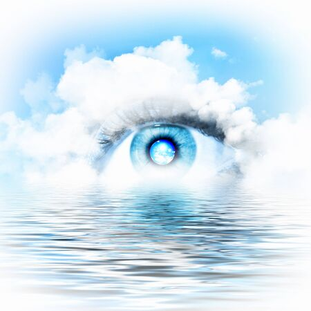 Conceptual illustration of eye overlooking water scenic illustration