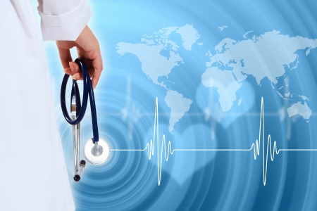 heart doctor: Illustration with medical background having heart beat, doctor and stethoscope
