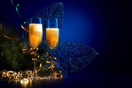 Two champagne glasses ready to bring in the New Year Stock Photo - 16697454