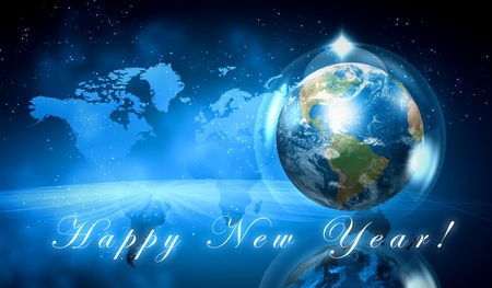 new years eve background: Earth symbol of the new year on our planet  Happy New Year and Merry Christmas  Stock Photo