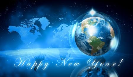 planeta tierra feliz: Tierra símbolo del año nuevo en nuestro planeta Feliz Año Nuevo y Feliz Navidad