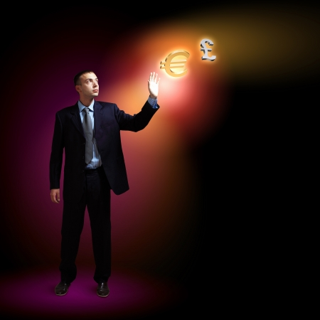 Modern people doing business, young businessman with money symbols photo