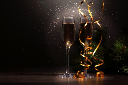 newyear night: Two champagne glasses ready to bring in the New Year