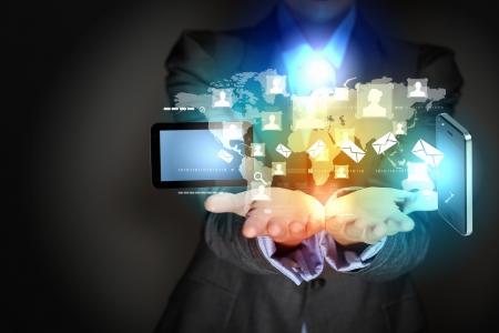 Moderno, illustrazione, tecnologia wireless con un dispositivo di computer