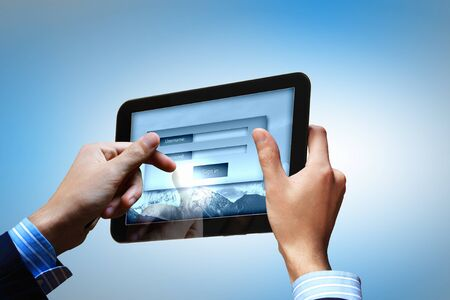 Login with email and password on computer screen Stock Photo - 16736559