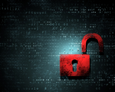 Security concept  Lock on digital screen, illustration Stock Illustration - 16737152