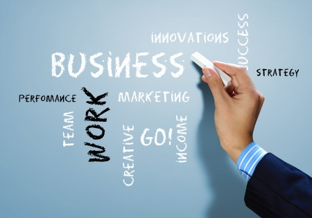 company innovation:  Strategy  concept with many other related words