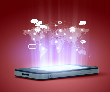 Modern communication technology illustration with mobile phone and high tech background Imagens