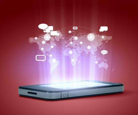 Moderne illustration technologie de communication avec le t�l�phone portable et de haute tech background