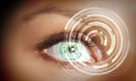 Eye viewing digital information represented by circles and signs photo