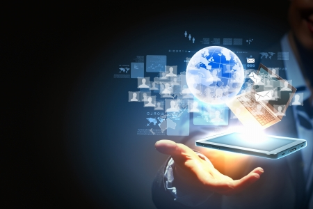 portable information device: Modern wireless technology and social media illustration