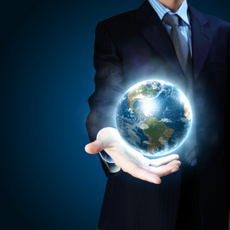 connected world: Planet System in Your Hand  Conceptual Image