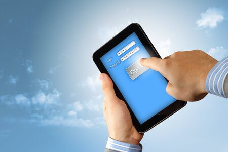 Login with email and password on computer screen Stock Photo - 16737251