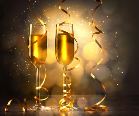Two champagne glasses ready to bring in the New Year Stock Photo - 16767792