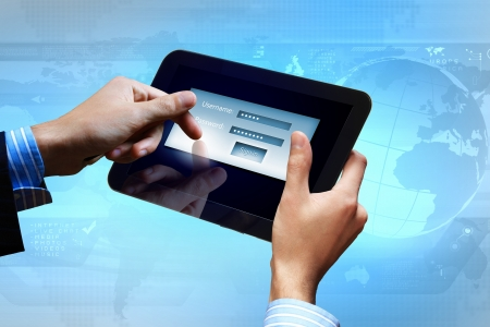 Login with email and password on computer screen Stock Photo - 16767745