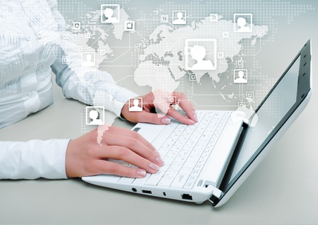 computer network diagram: Symbol of social network with people images Stock Photo