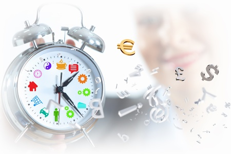 Time in business illustration with clock in hands of businesswoman illustration