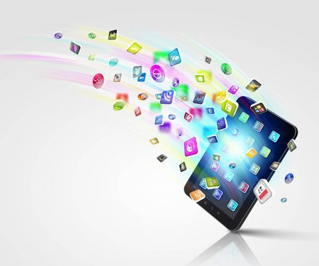 Media technology illustration with mobile phone and icons Stock Illustration - 16865493