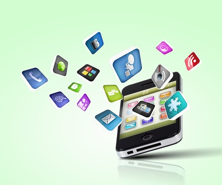 Media technology illustration with mobile phone and icons Stock Illustration - 16865492
