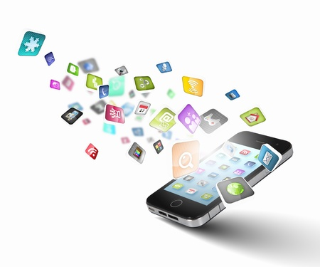 mobile: Media technology illustration with mobile phone and icons