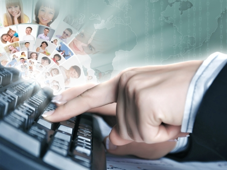 Computer keyboard and multiple social media images Stock Photo - 16865825