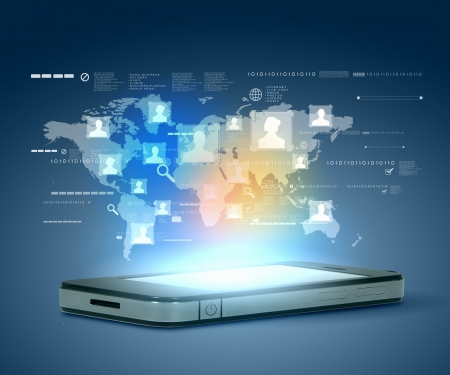 Modern communication technology illustration with mobile phone and high tech background Stock Photo
