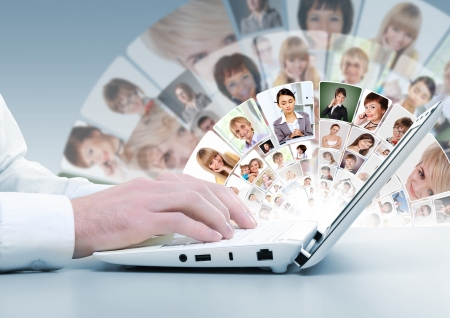 Computer keyboard and multiple social media images Stock Photo - 16865980