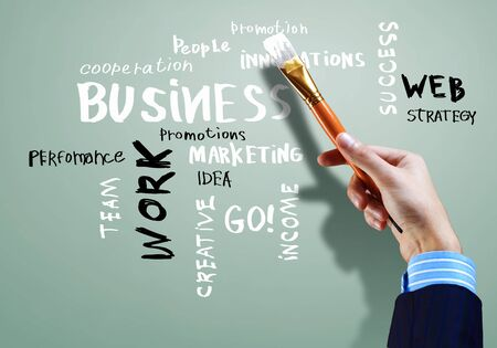 company vision:  Strategy  concept with many other related words