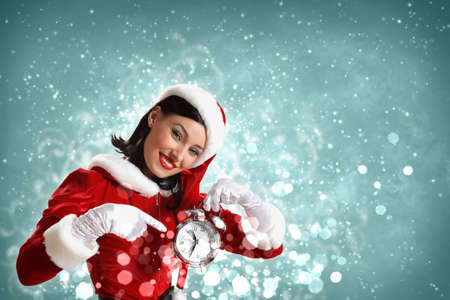 happy hour: excited girl with santa hat holding clock  illustration