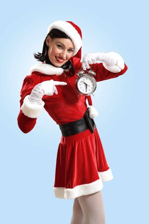 excited girl with santa hat holding clock  illustration Stock Illustration - 16865976
