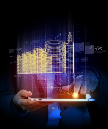 future city: Engineering automation building designing  Construction industry technology