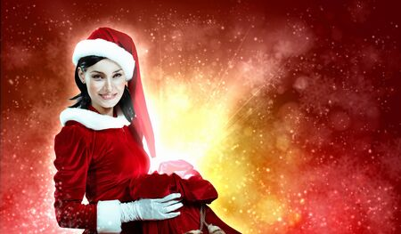 Christmas illlustration of beautiful girl in santa costume Stock Photo - 16866314