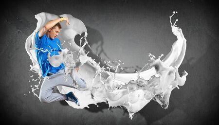 Modern style dancer jumping and paint splashes Illustration Stock Illustration - 16866414