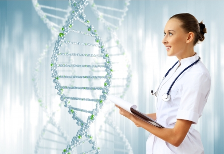 clone: Image of DNA strand against colour background