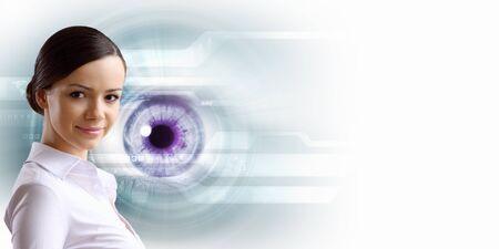 long eyelashes: Macro image of human eye against white background
