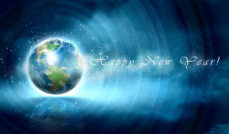 Earth symbol of the new year on our planet  Happy New Year and Merry Christmas  Elements of this image are furnished by NASA photo