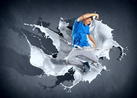 Modern style dancer jumping and paint splashes Illustration Stock Illustration - 16866419