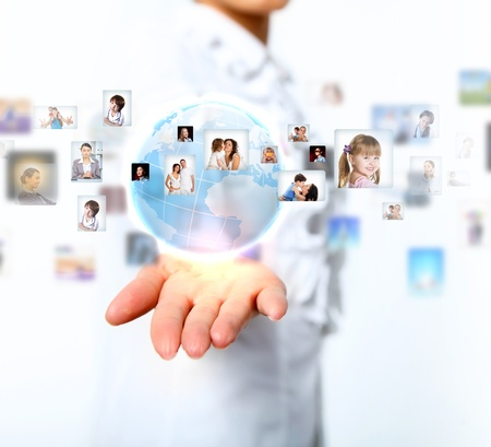 people connected: Image of our planet as symbol of social networking Stock Photo