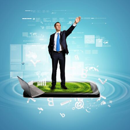 Modern technology illustration with computers and business person Stock Illustration - 16884619