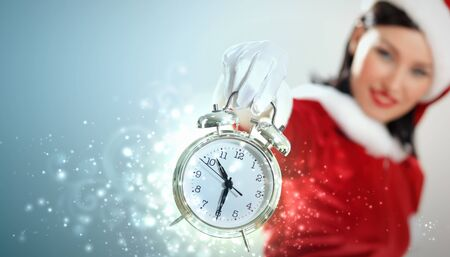 excited girl with santa hat holding clock  illustration illustration